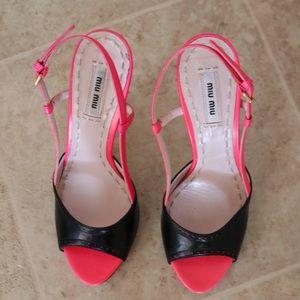 Pink and Black Miu Miu Slingbacks